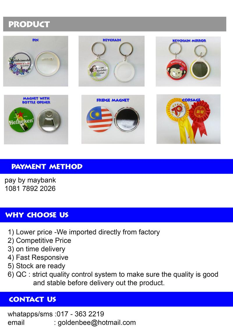 75mm Button Badge Pin