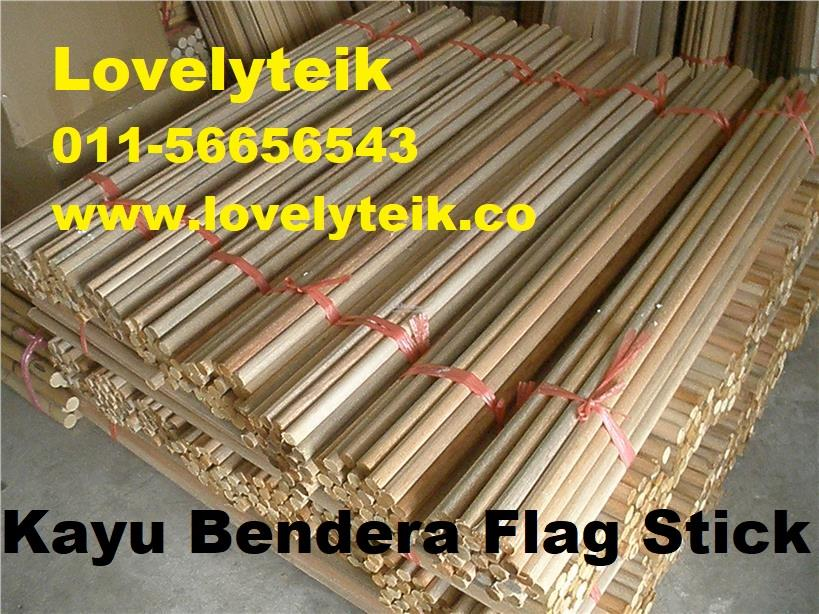 7ft Kayu Bendera Solid Wood Flag Stick Banner Rod