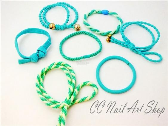 7pc Tiffany Blue Mint Green Hair Band Set Accessories Fashion Bracelet