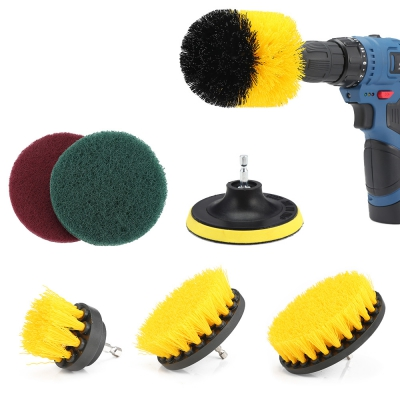 7pcs Drill Brush Scouring Pad Attachments for Bathroom Kitchen Cleanin..