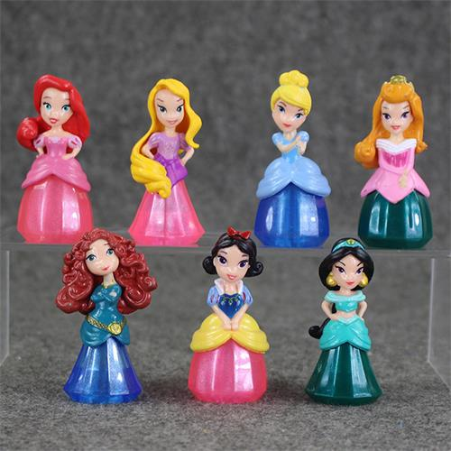7Pcs Princess Snow White Figures Ariel Belle Rapunzel Aurora PVC Actio