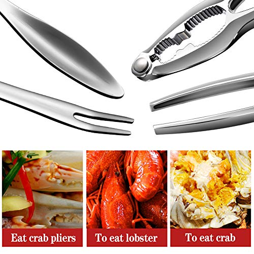 7Pcs Seafood Tools Set including 4 Forks and 2 Lobster Crackers Nut Cracker 1