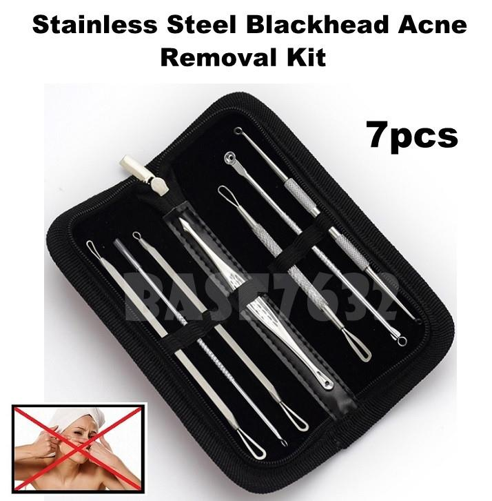 7pcs Stainless  Steel Face Blackhead Acne Pimple Remover Tool Kit
