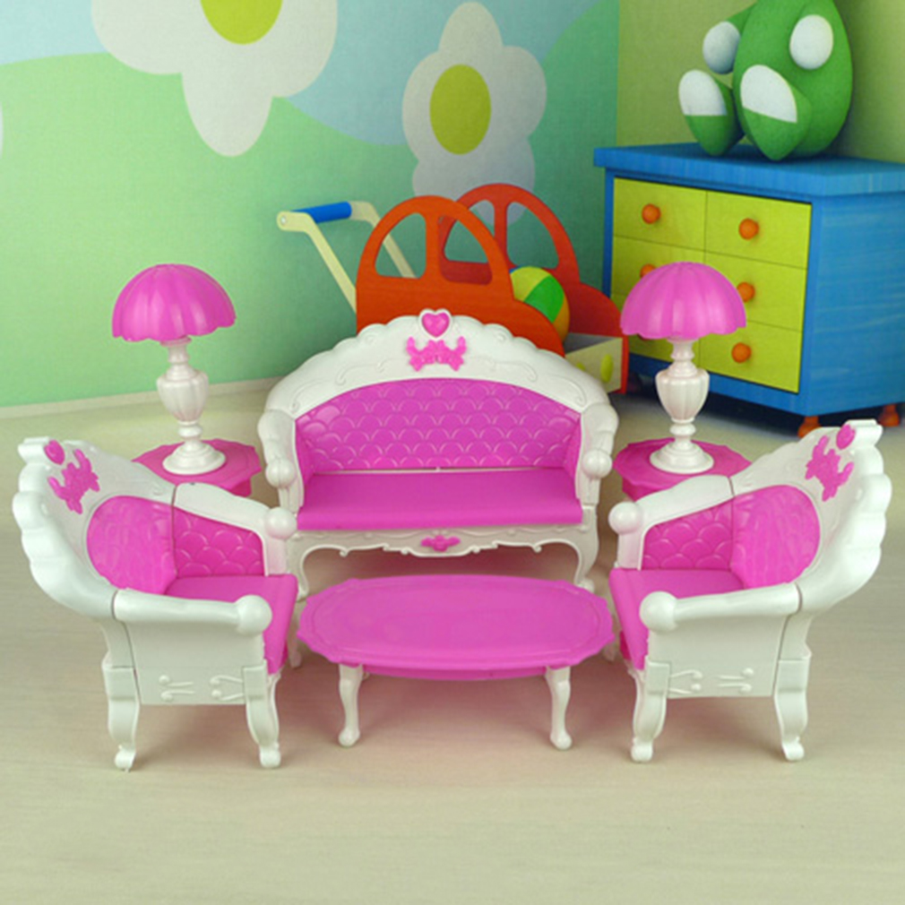 7pcs Toys For Barbie Doll Sofa Chair Couch Desk Lamp Furniture Set Dis