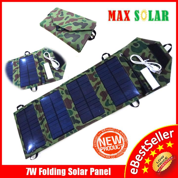 7W Solar Panel 5V USB Travel Camping Emergency Phone Battery Charger