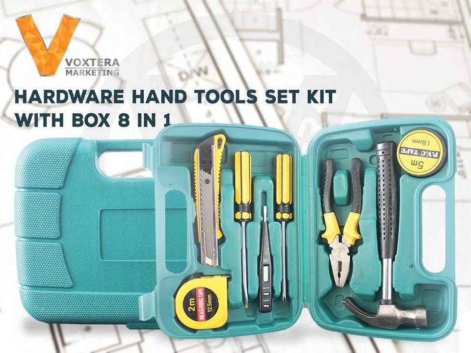 8 IN 1 Hardware Hand Tools Set Alloy Steel Repairing Kit with Case