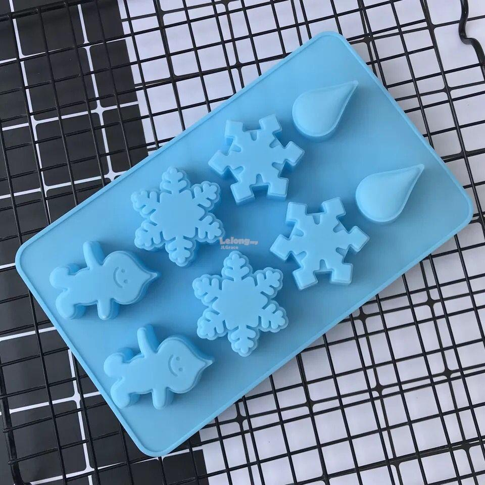 8 Cavities Water Drop Snow Flake Silicone Cake Jelly Mould