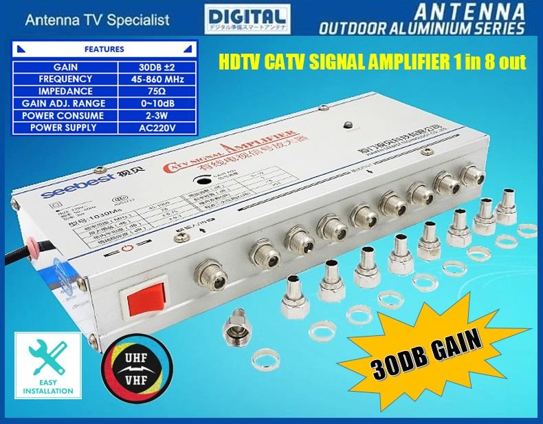 8 WAY HDTV CATV DIGITAL TV Antenna SignalLine Booster Splitter 1in8out