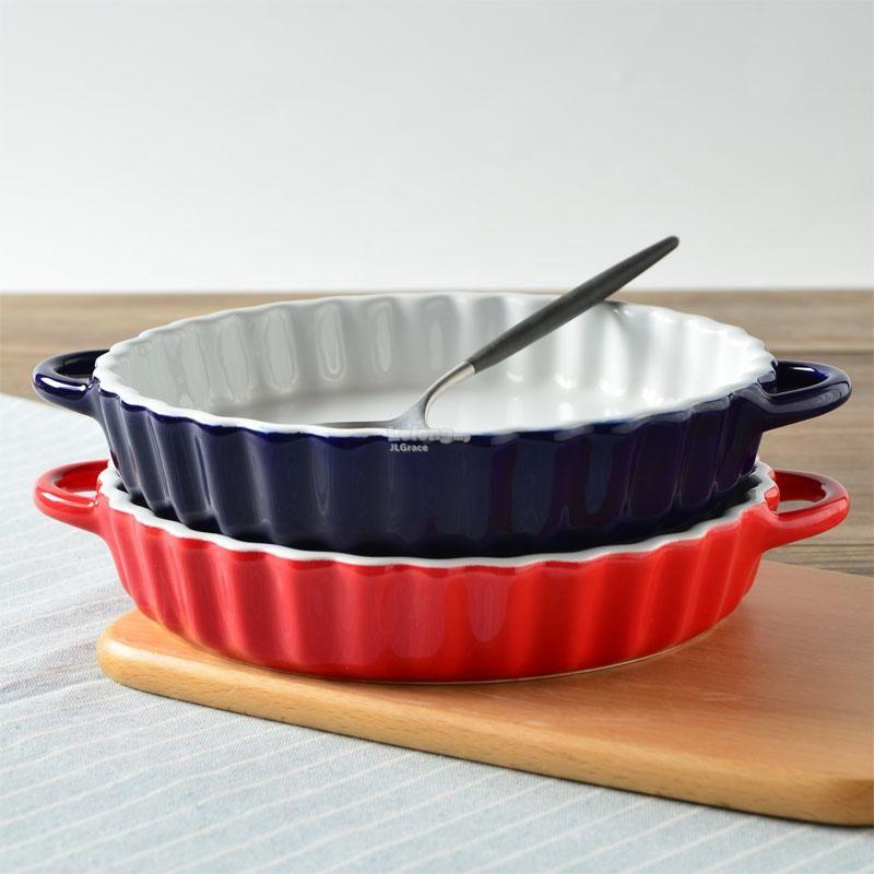 8 Inch European Ceramic Ruffled Pie Plate Quiche Pan w Handle & 8 Inch European Ceramic Ruffled Pie P (end 5/5/2019 4:57 PM)