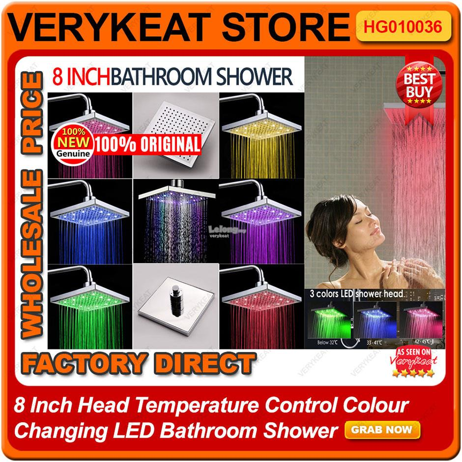8 Inch Head Temperature Control Colour Changing LED Bathroom Shower