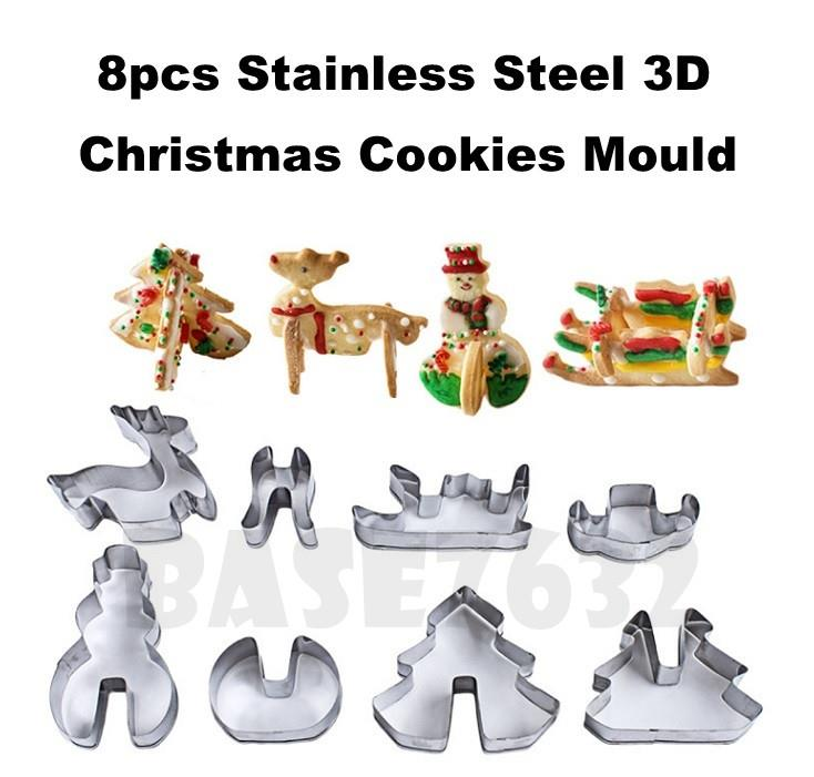 8 pcs Stainless Steel  3D Christmas Xmas Cookies Cutter Mold Mould Set