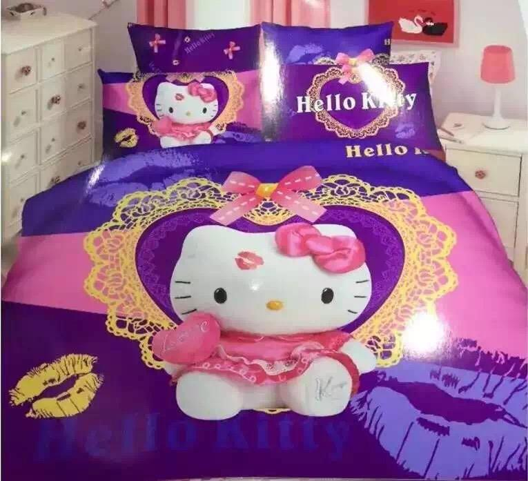800 Thread Count Fitted Bed Sheet Set(Hello Kitty Set)