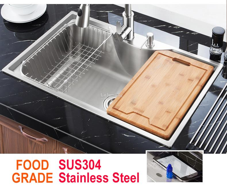 8050 304 Stainless Steel Kitchen Sink Single Bowl Top or Undermount