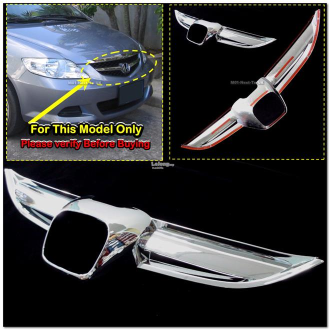 [8058] Honda City 02-08 Chrome Grill Cover Trim Rim Cover Overlay Beze