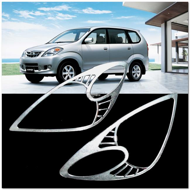 [8070] Toyota Avanza 03~11 Chrome Head Light Trim Front Lamp Cover Bez