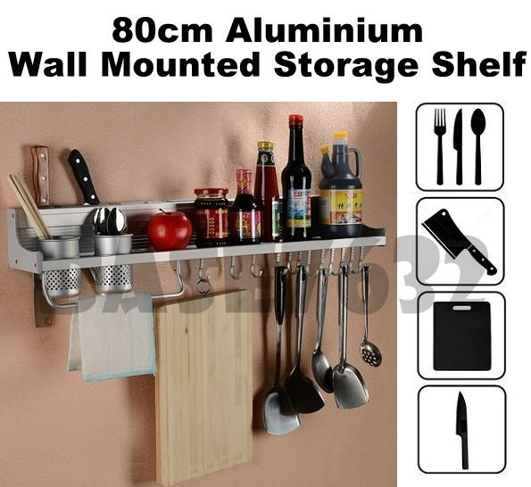 80cm  Kitchen Wall Mounted Kitchen Knife Hanger Storage Rack Shelf