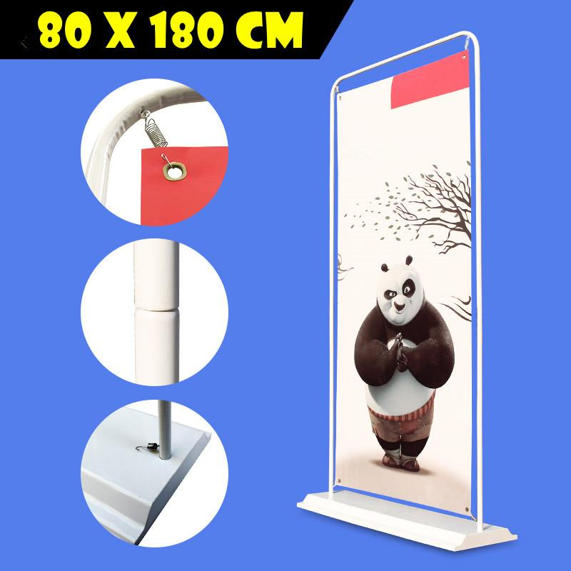 80x180 Banting Banner Poster Display Door Stand Rack Iron Base