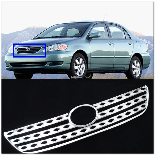 [8109] Toyota Corolla E120 E130 Chrome Grill Covers Trims (Abs) [1 Pie