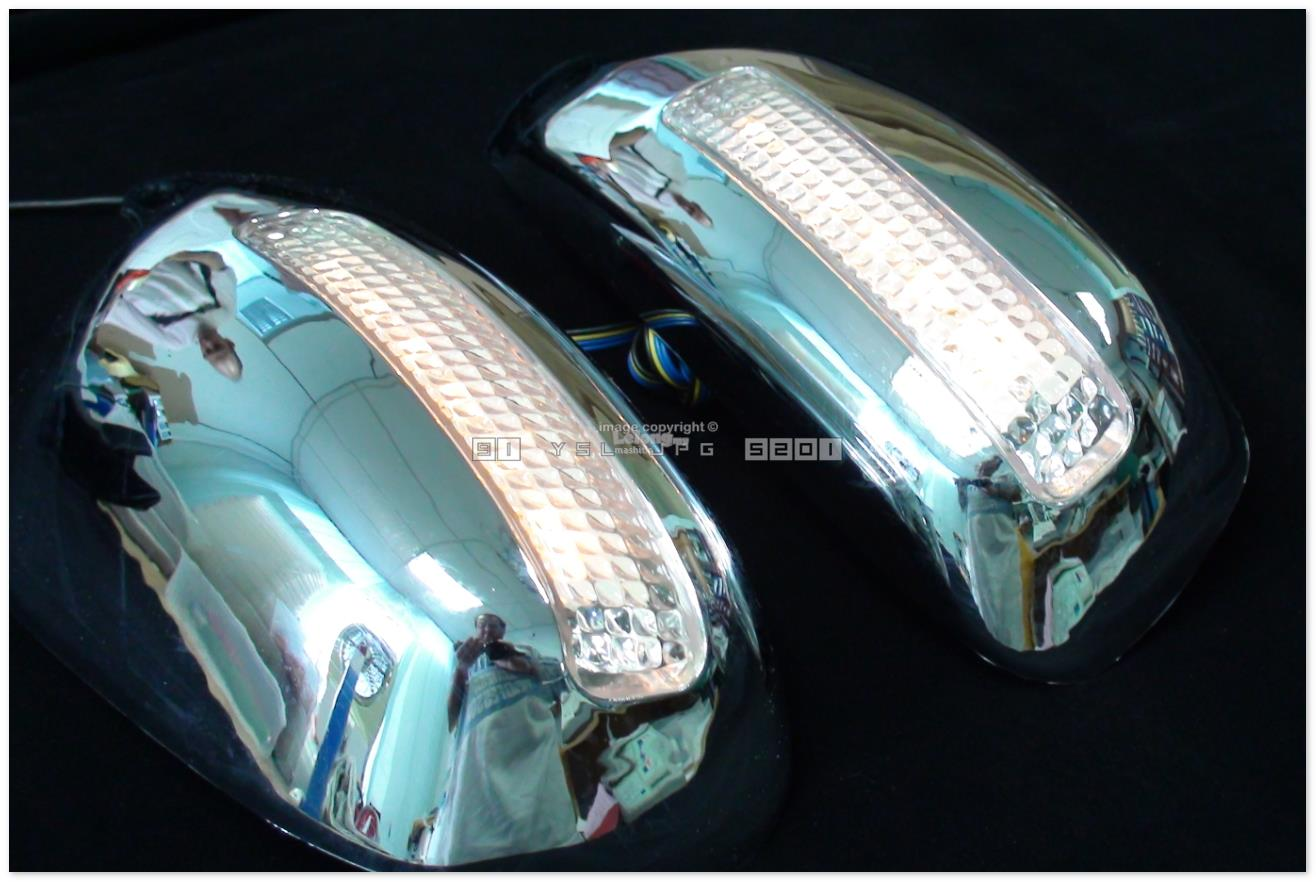 [8179] For Peugeot 307 Chrome Door Mirror Cover Trim With Amber Led Si