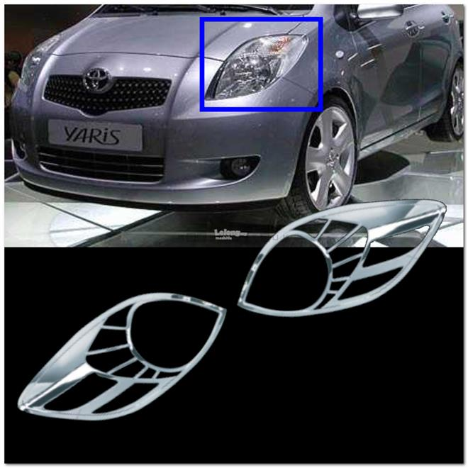 [8536] Toyota Yaris 05~08 Chrome Head Light Trim Lamp Rim Cover Overla
