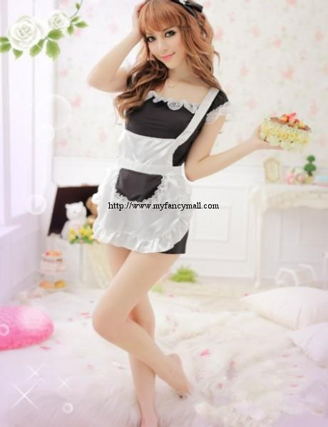 860 Kawaii Halter Neck Hung three-Piece Lace Maid Lingerie Nightwear