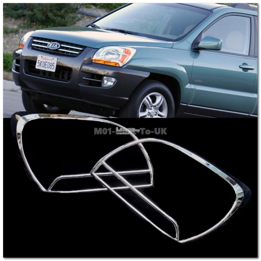 [8765] Kia Sportage Chrome Head Light Trim Front Lamp Rim Cover Overla