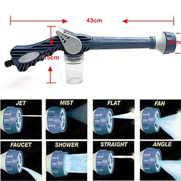 8in1 Ez Jet Water Cannon Soap Dispenser Nozzle Spray Gun Wash car