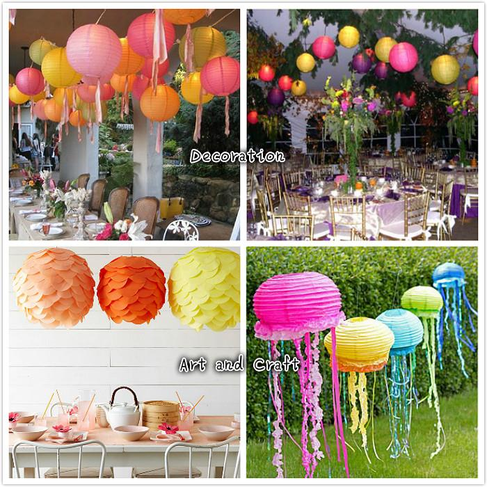 8inch/20cm Paper Lantern Round Plain Hanging Decoration (3pieces)