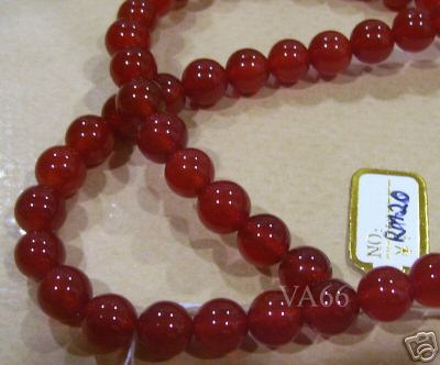8mm Orange Agate Gemstone Smooth Round Gemstones 15.5""
