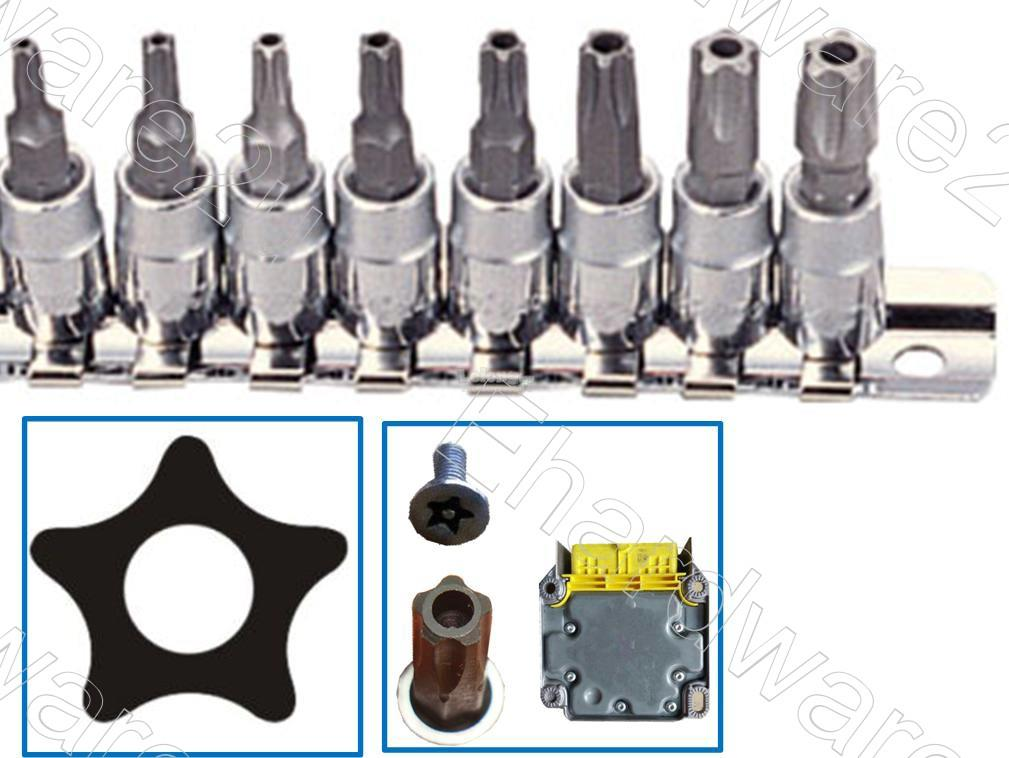"8PCS 5PT 1/4""DR Car Repair Security Pentacle Bit Socket Set (GAAG0805)"