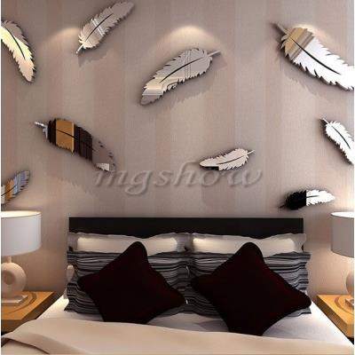 8pcs Feather Original Designed 3D Mirror Wall Stickers