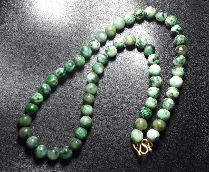 9.5mm imperial quality jedeite jade necklace beads length 21 inch-85g
