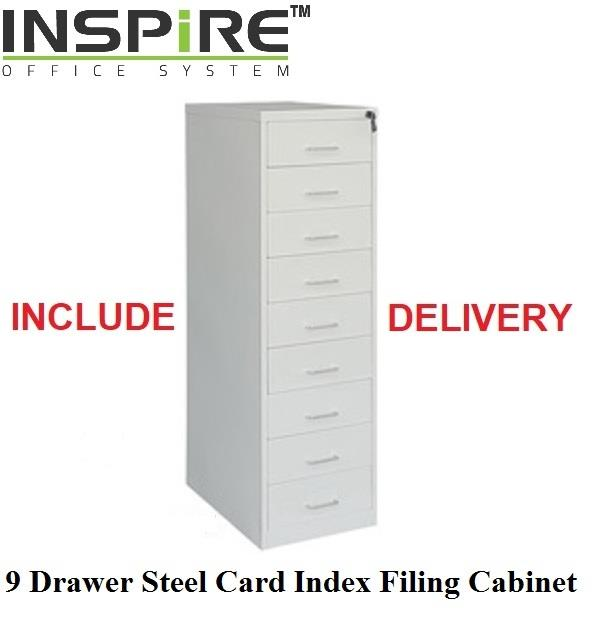 9 Drawer Steel Card Index Filing Cabinet