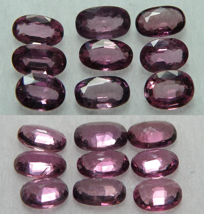 9 pcs of rare purple Sapphire cushion facet - 2.20CT