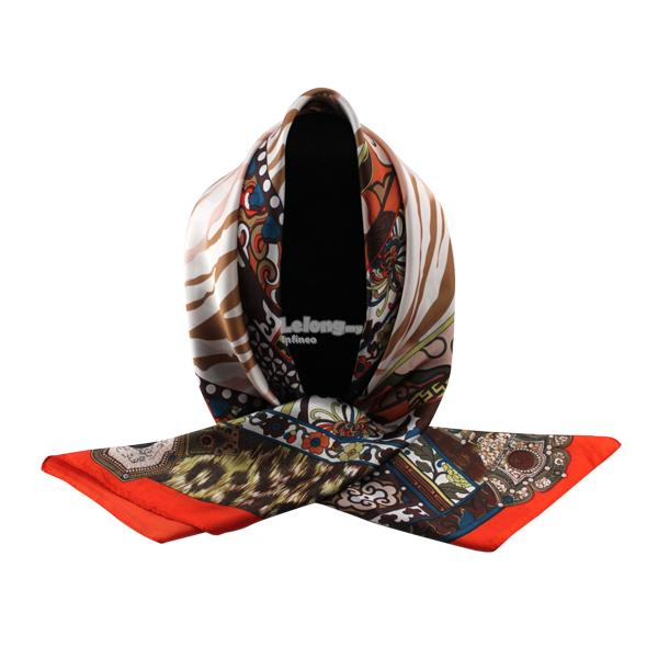 90*90cm High-grade Dual-Purpose Hijab & Silk Scarf Wrap (Brown Orange)