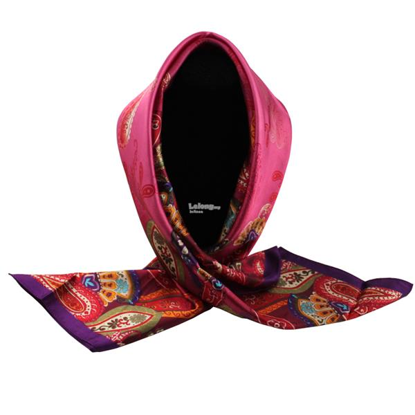 90*90cm High-grade Dual-Purpose Hijab & Silk Scarf Wraps (Pink Purple)