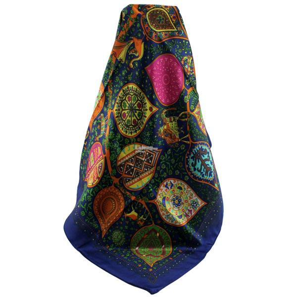 90*90cm High-grade Dual-Purpose Hijab & Silk Scarf Wraps (Yellow Blue)