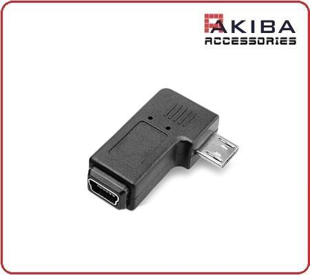 90 Degree Mini-b USB Female to Micro-b USB Male Right Angle