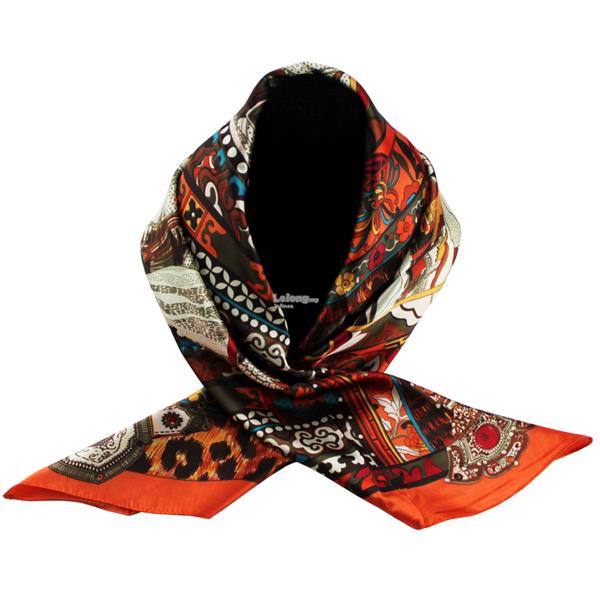 90cm*90cm High-grade Dual-Purpose Hijab & Silk Scarf Wrap (Mix Orange)