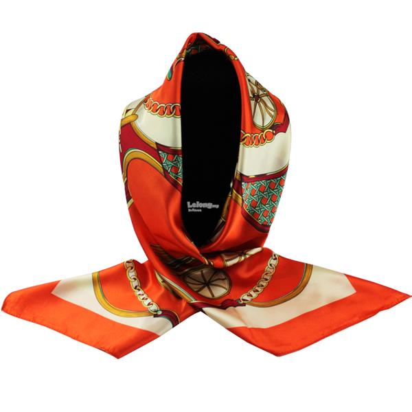 90cm*90cm High-grade Dual-Purpose Hijab & Silk Scarf Wrap (Red Orange)