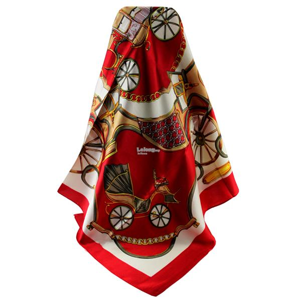 90cm*90cm High-grade Dual-Purpose Hijab & Silk Scarf Wrap (Yellow Red)