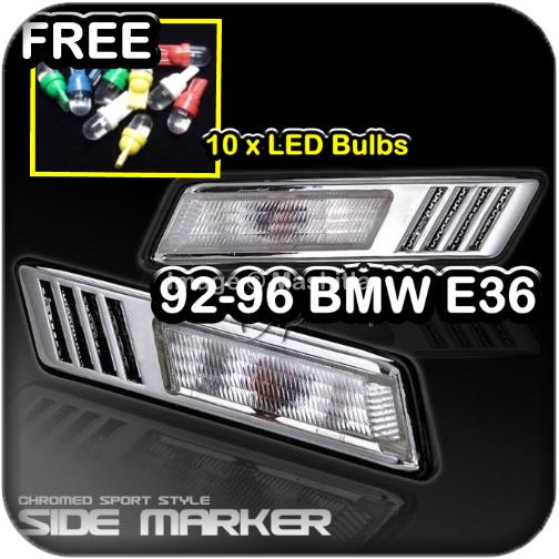 92-96 BMW E36 Side Marker Lights Chrome Free 10x LED Bulbs