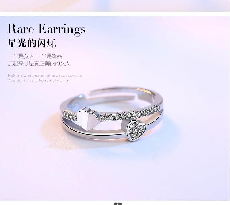 925 Silver Adjustable Korea Fashion Ladies Lover Ring