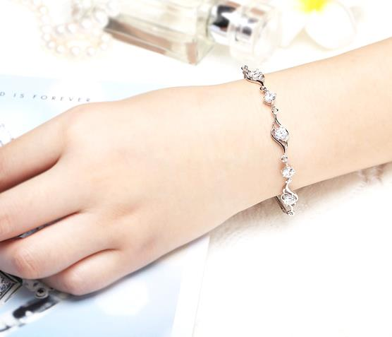 925 Silver bracelet with crystal rhinestones - 5S
