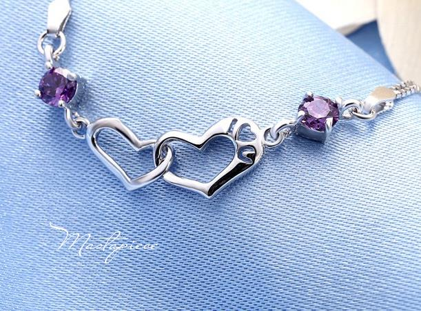925 Silver bracelet with purple crystal rhinestones - I love U