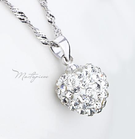 925 Silver heart w crystal Rhinestones pendant necklace - SH3