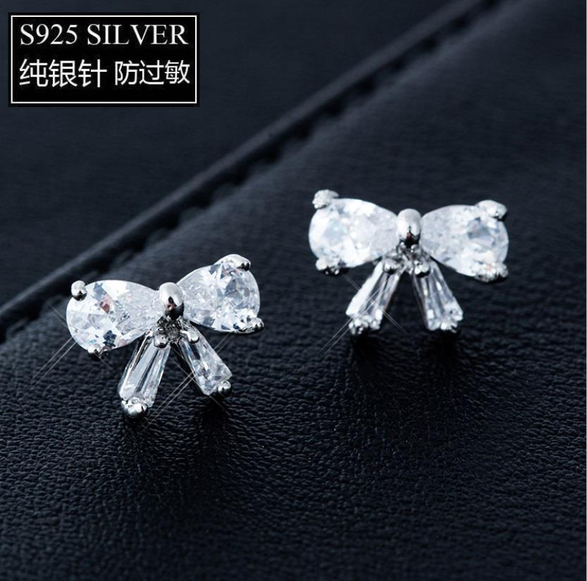 925 Silver Korea Bling Bling Luxury Ribbon Earring