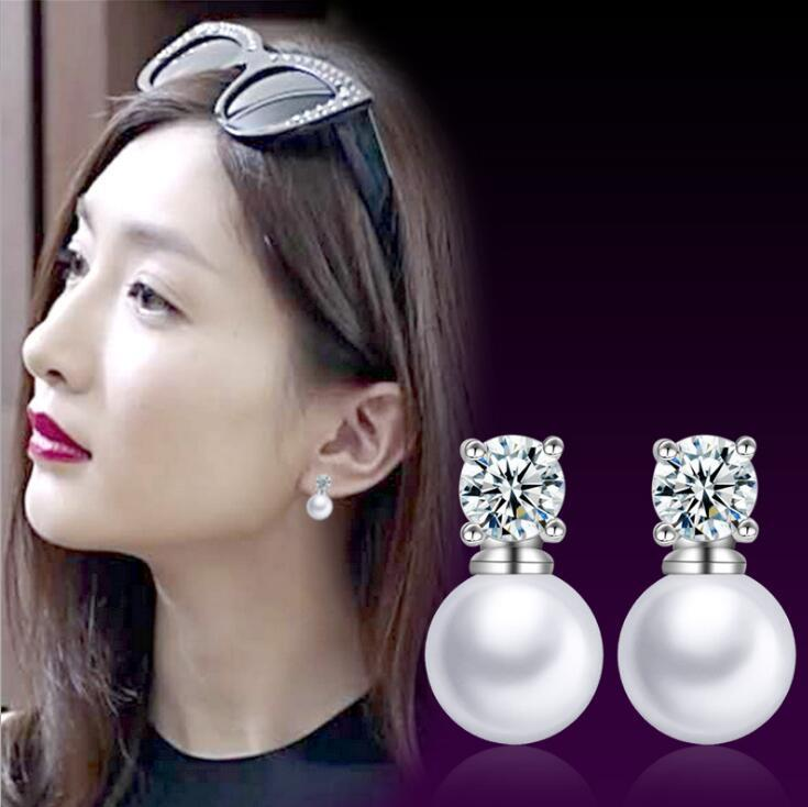 925 Silver Korea Fashion Pearl Design Earring