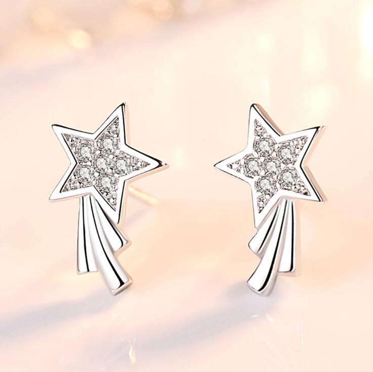 925 Silver Korea Lucky Star 2 Fashion Earring