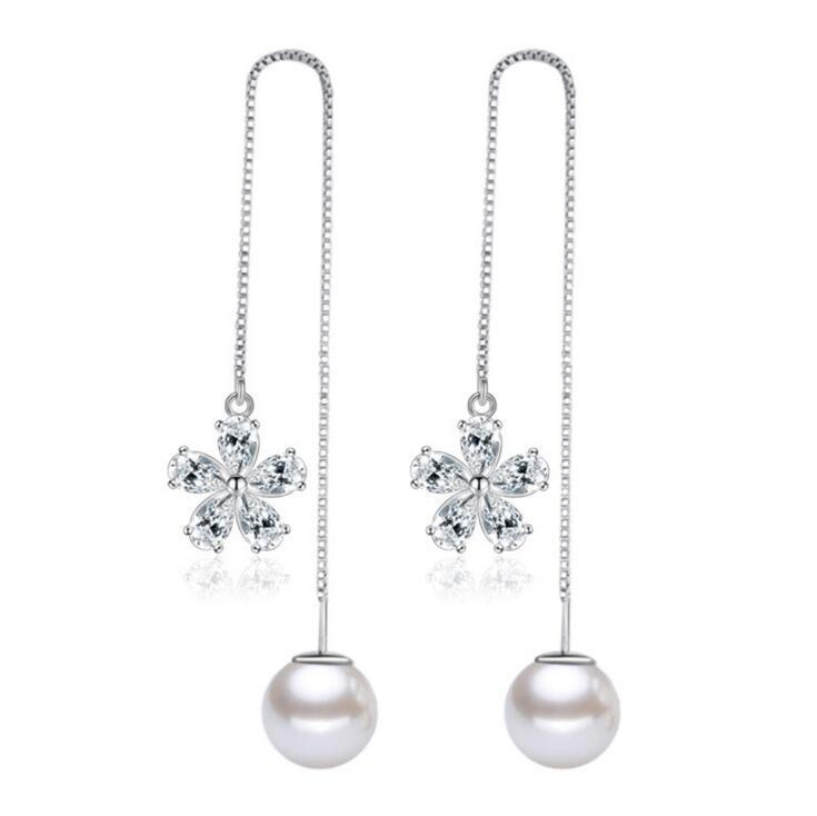 925 Silver Luxury Flower Design Line Earring